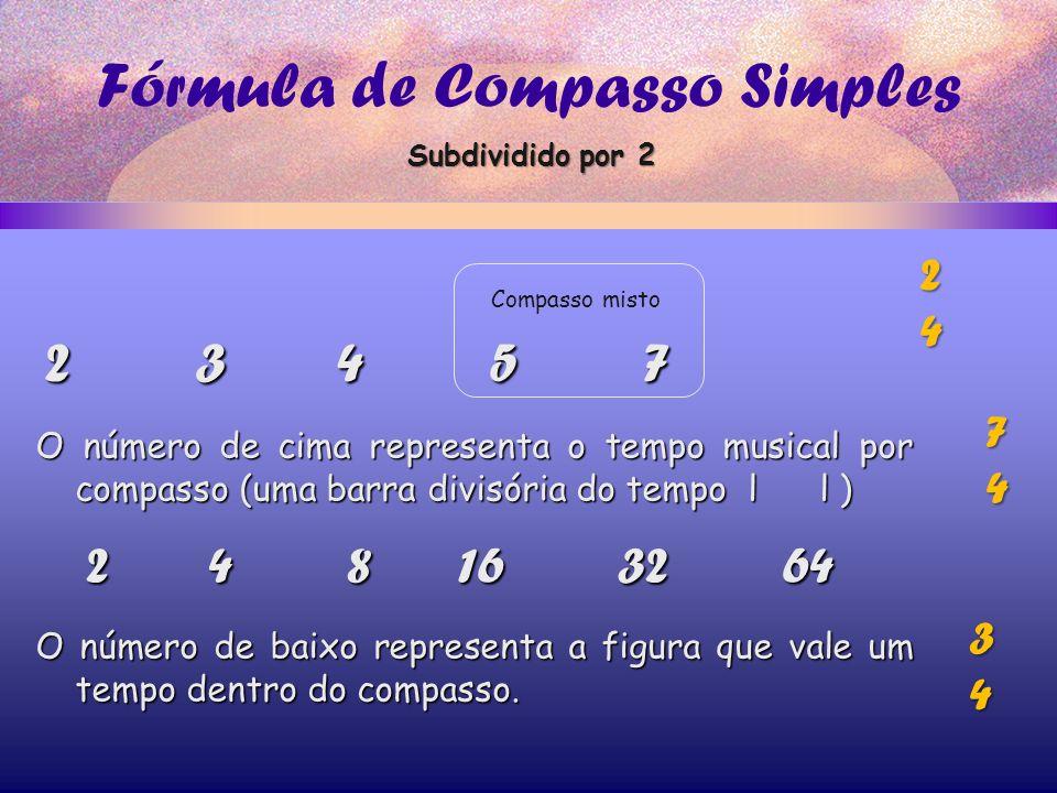 Fórmula de Compasso Simples 2 3 4 5 7 2 4 8 16 32 64 O número de cima representa o tempo musical por compasso (uma barra divisória do tempo l l ) O número de baixo representa a figura que vale um tempo dentro do compasso.