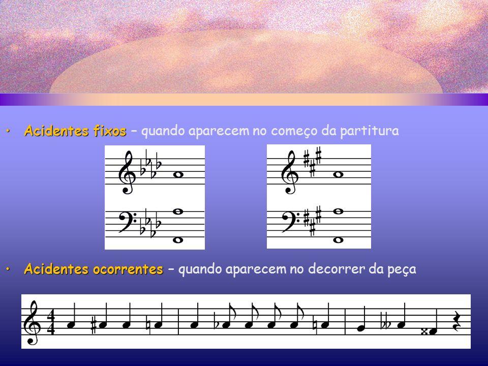 Acidentes fixosAcidentes fixos – quando aparecem no começo da partitura Acidentes ocorrentesAcidentes ocorrentes – quando aparecem no decorrer da peça