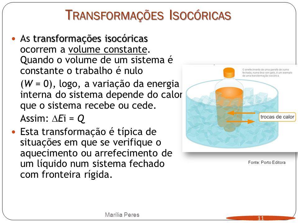 T RANSFORMAÇÕES I SOCÓRICAS transformações isocóricas As transformações isocóricas ocorrem a volume constante. Quando o volume de um sistema é constan