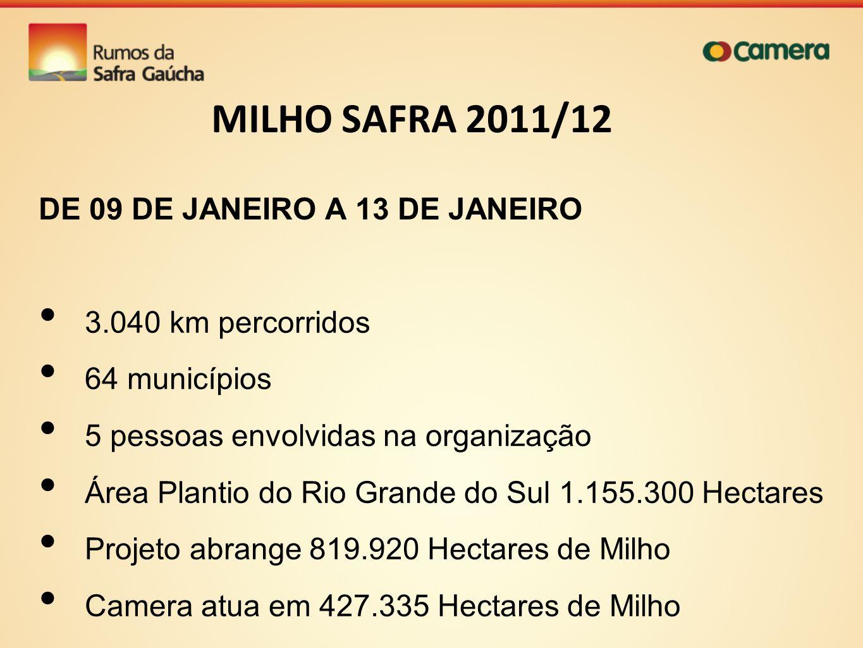 MILHO SAFRA 2011/12 DE 09 DE JANEIRO A 13 DE JANEIRO 3.040 km percorridos 64 municípios 5 pessoas envolvidas na organização Área Plantio do Rio Grande