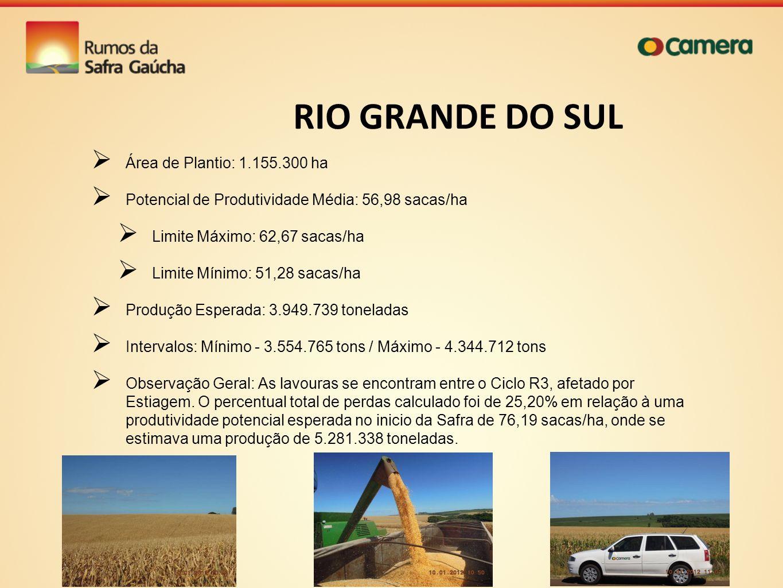 RIO GRANDE DO SUL Área de Plantio: 1.155.300 ha Potencial de Produtividade Média: 56,98 sacas/ha Limite Máximo: 62,67 sacas/ha Limite Mínimo: 51,28 sa
