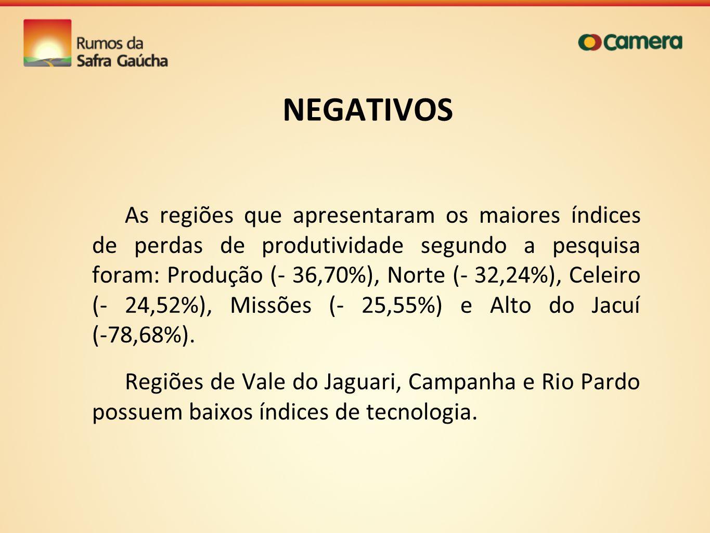 NEGATIVOS As regiões que apresentaram os maiores índices de perdas de produtividade segundo a pesquisa foram: Produção (- 36,70%), Norte (- 32,24%), C