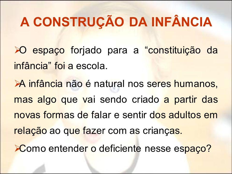A CONSTRUÇÃO DA INFÂNCIA O espaço forjado para a constituição da infância foi a escola. A infância não é natural nos seres humanos, mas algo que vai s