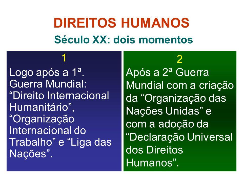 DIREITOS HUMANOS 1 Logo após a 1ª. Guerra Mundial: Direito Internacional Humanitário, Organização Internacional do Trabalho e Liga das Nações. 2 Após