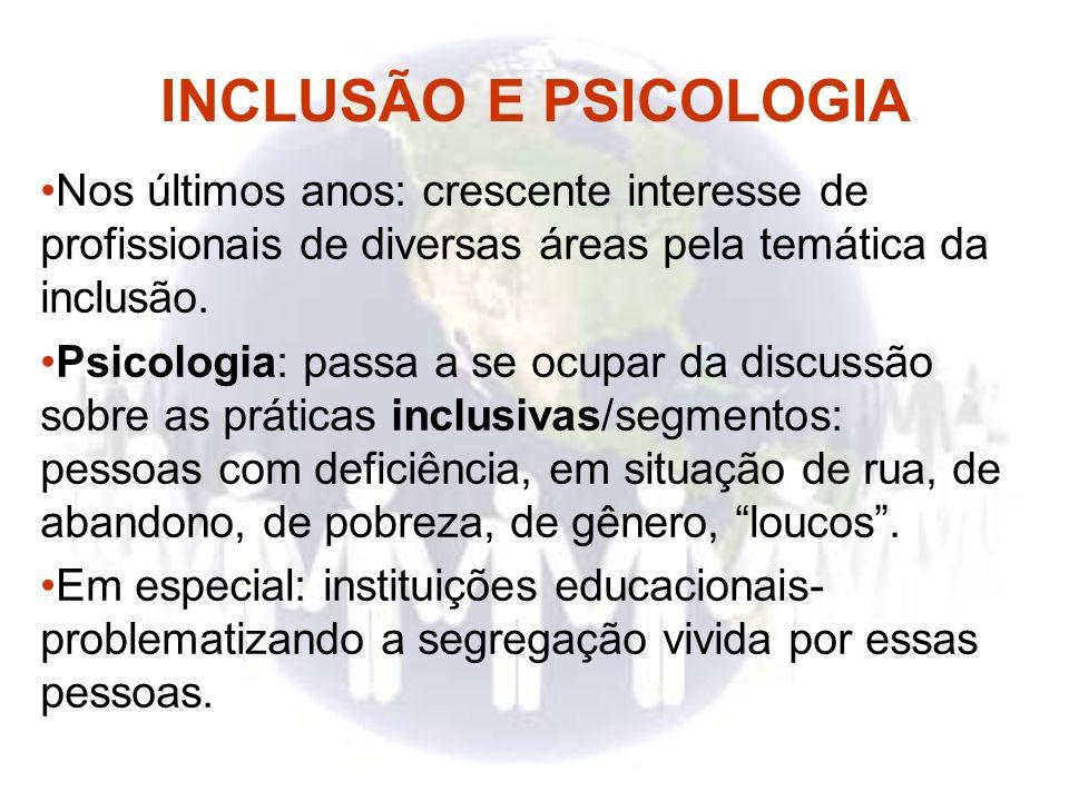 INCLUSÃO E PSICOLOGIA Nos últimos anos: crescente interesse de profissionais de diversas áreas pela temática da inclusão. Psicologia: passa a se ocupa