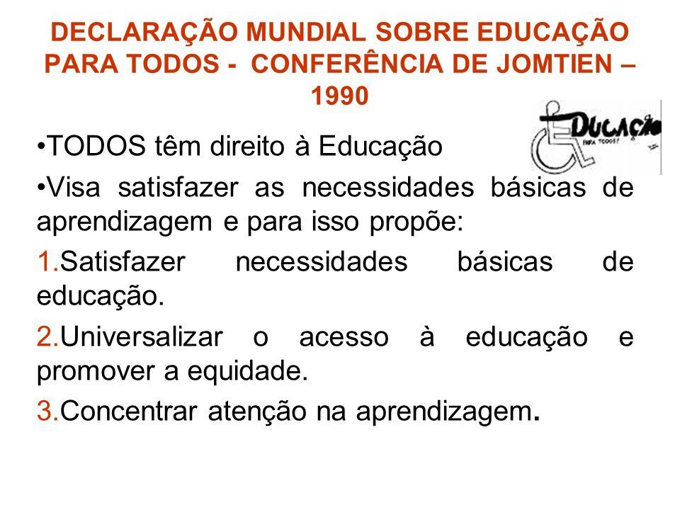 TODOS têm direito à Educação Visa satisfazer as necessidades básicas de aprendizagem e para isso propõe: 1.Satisfazer necessidades básicas de educação