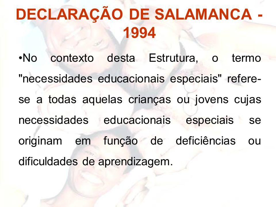 DECLARAÇÃO DE SALAMANCA - 1994 No contexto desta Estrutura, o termo
