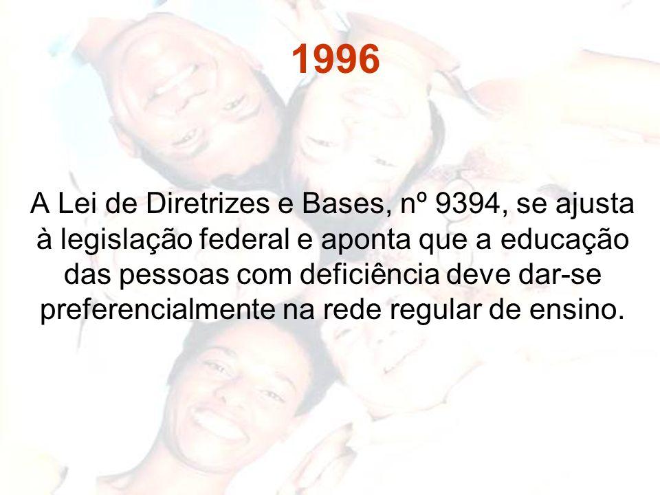 1996 A Lei de Diretrizes e Bases, nº 9394, se ajusta à legislação federal e aponta que a educação das pessoas com deficiência deve dar-se preferencial