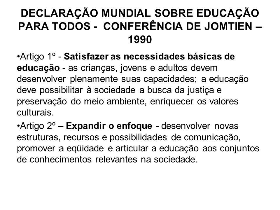 DECLARAÇÃO MUNDIAL SOBRE EDUCAÇÃO PARA TODOS - CONFERÊNCIA DE JOMTIEN – 1990 Artigo 1º - Satisfazer as necessidades básicas de educação - as crianças,