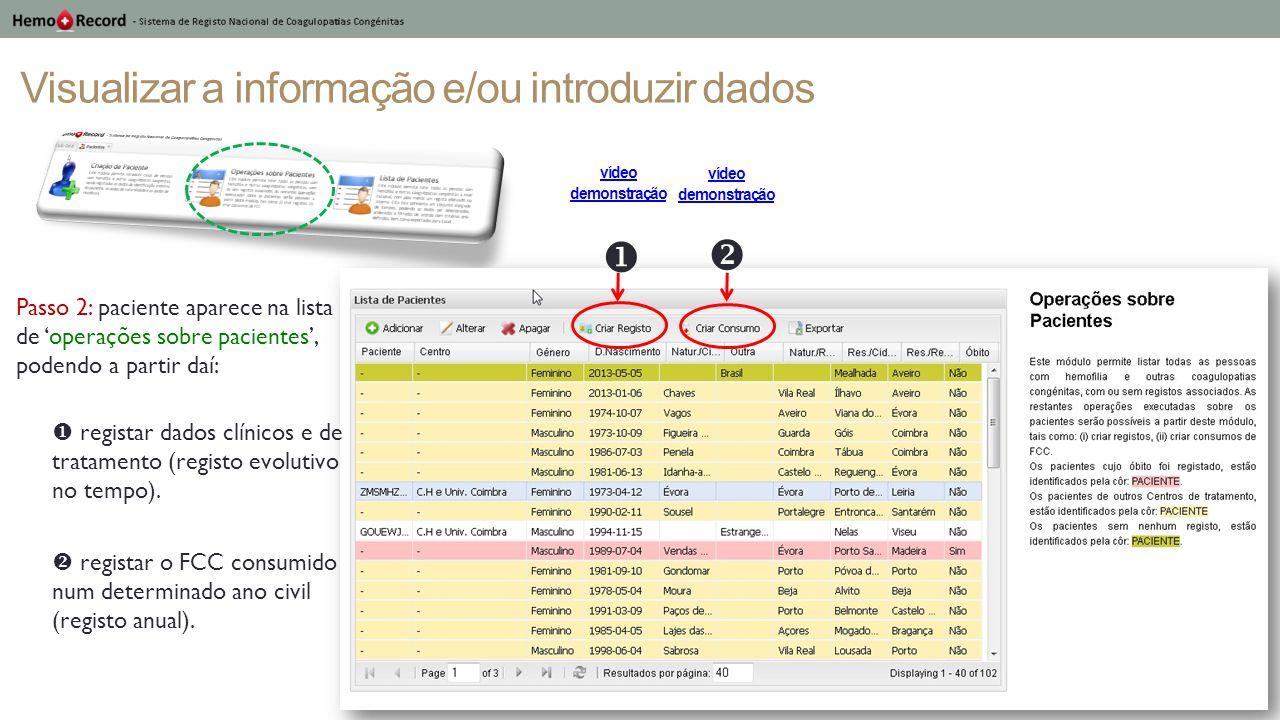 Visualizar a informação e/ou introduzir dados Passo 2: paciente aparece na lista de operações sobre pacientes, podendo a partir daí: registar dados cl