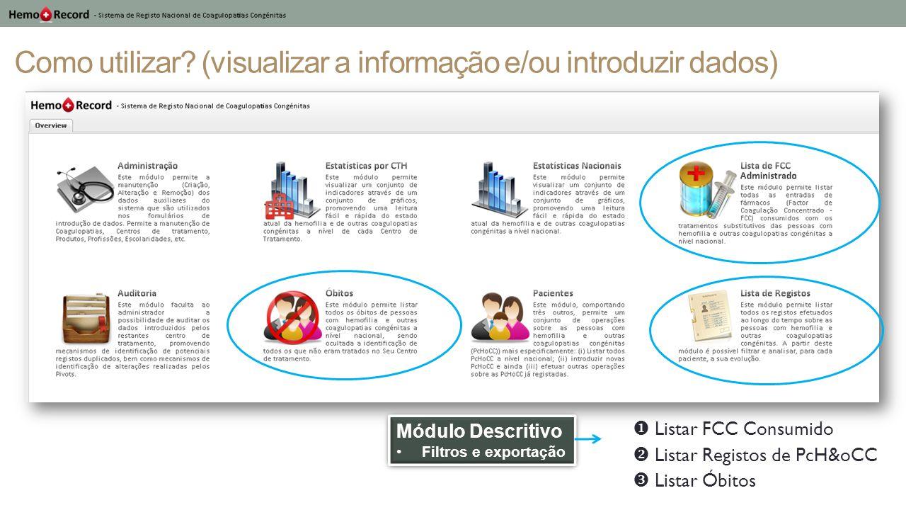 Como utilizar? (visualizar a informação e/ou introduzir dados) Módulo Descritivo Filtros e exportação Módulo Descritivo Filtros e exportação Listar FC