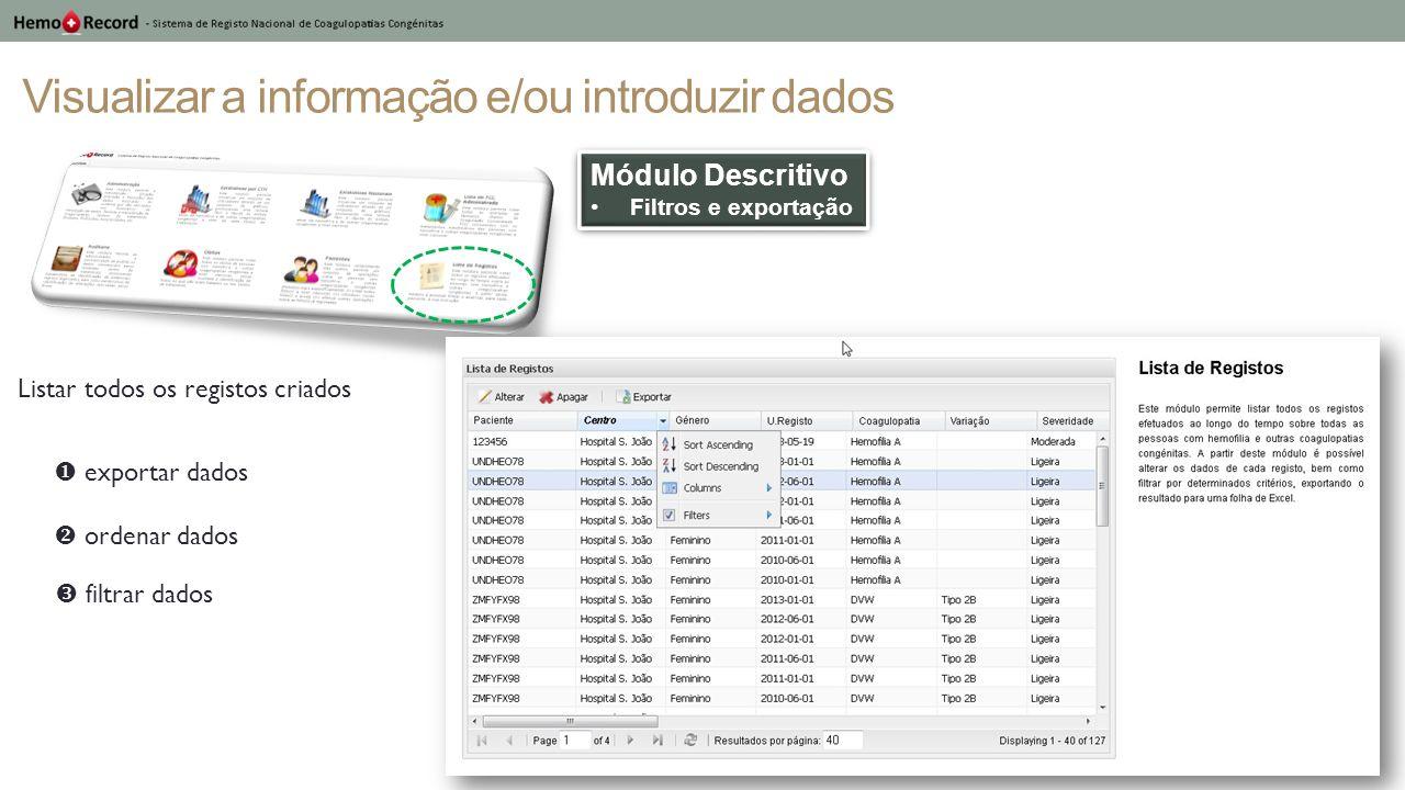 Visualizar a informação e/ou introduzir dados Módulo Descritivo Filtros e exportação Módulo Descritivo Filtros e exportação Listar todos os registos c