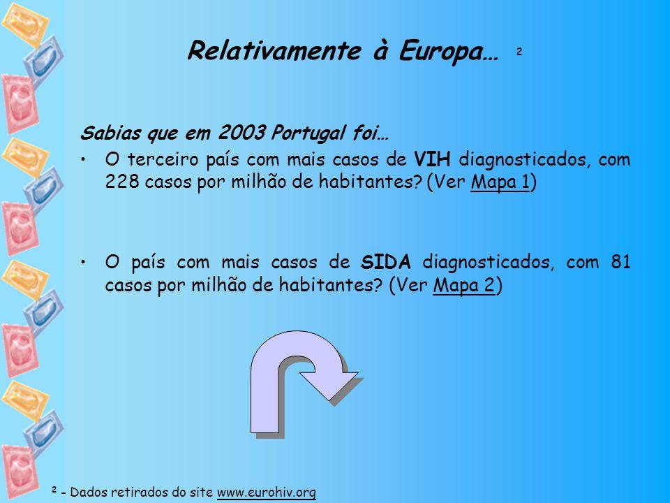 Relativamente à Europa… 2 Sabias que em 2003 Portugal foi… O terceiro país com mais casos de VIH diagnosticados, com 228 casos por milhão de habitante