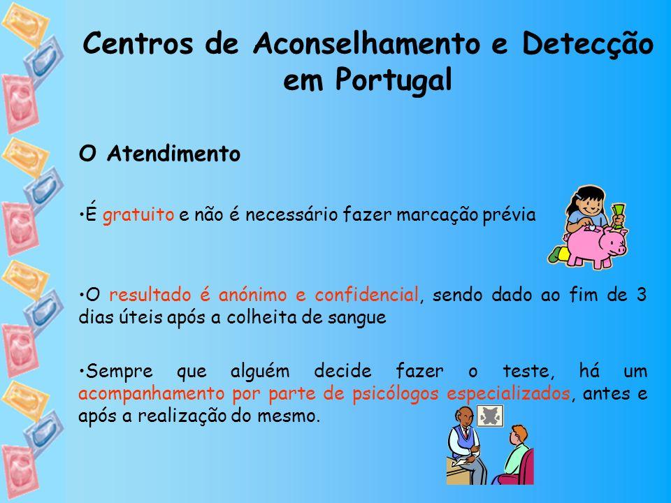 Centros de Aconselhamento e Detecção em Portugal O Atendimento É gratuito e não é necessário fazer marcação prévia O resultado é anónimo e confidencia