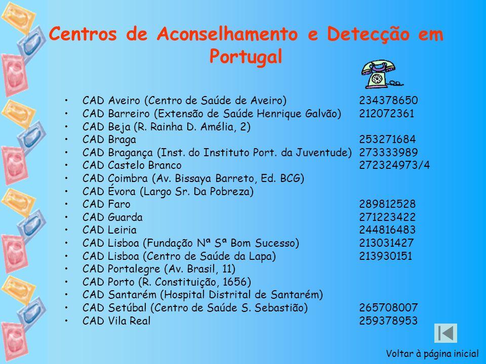 Centros de Aconselhamento e Detecção em Portugal CAD Aveiro (Centro de Saúde de Aveiro) 234378650 CAD Barreiro (Extensão de Saúde Henrique Galvão) 212