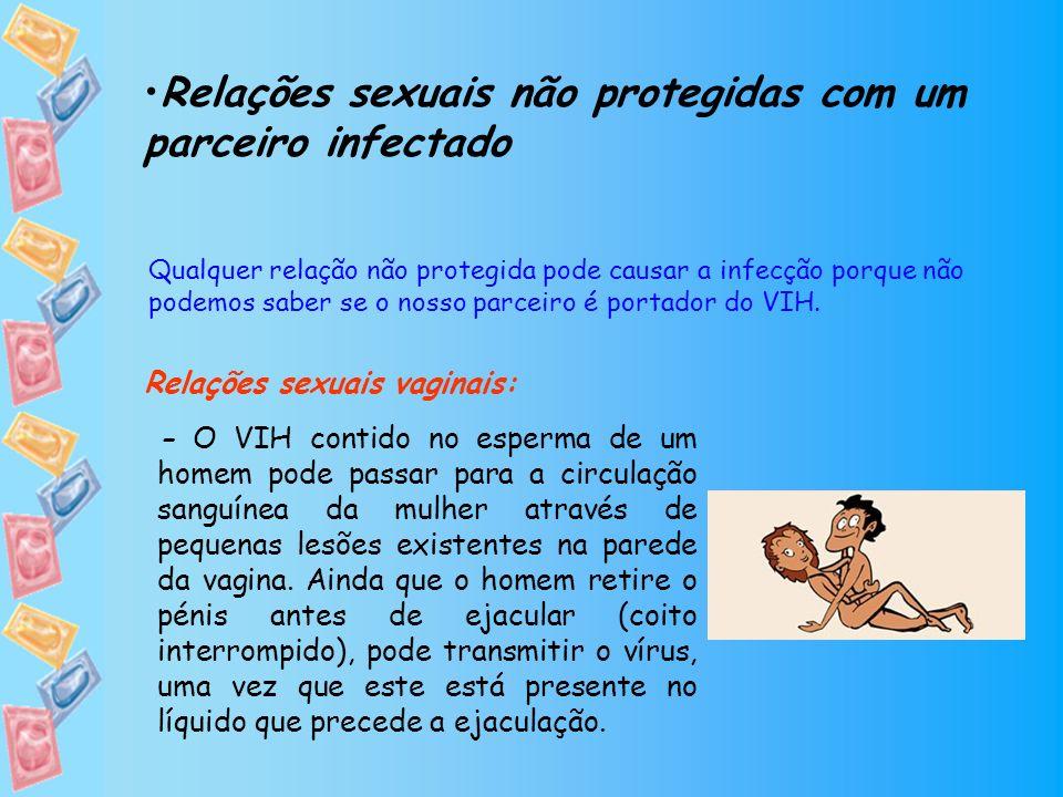 -O VIH contido nas secreções vaginais da mulher pode passar para a circulação sanguínea do homem através de pequenas lesões existentes no pénis.