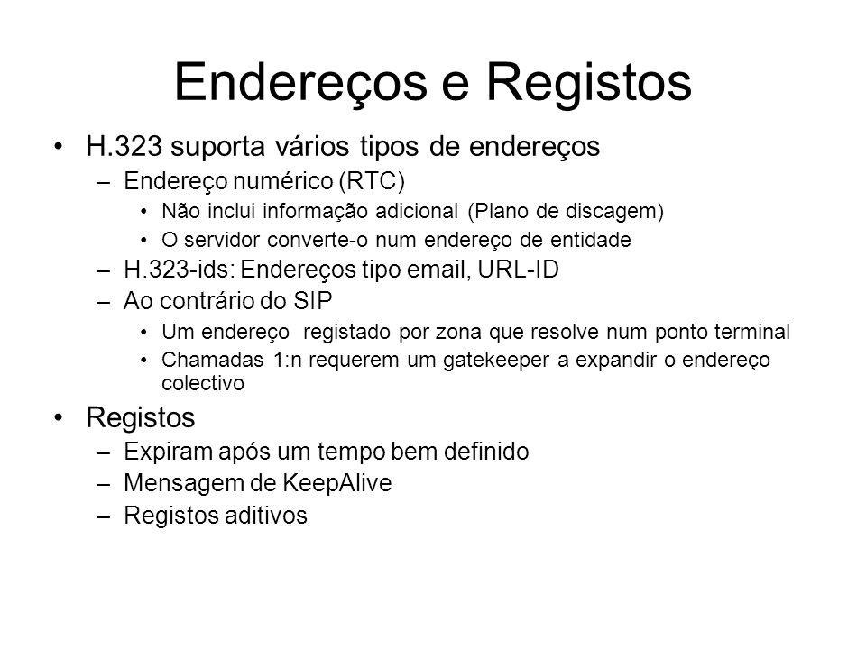 Endereços e Registos H.323 suporta vários tipos de endereços –Endereço numérico (RTC) Não inclui informação adicional (Plano de discagem) O servidor c