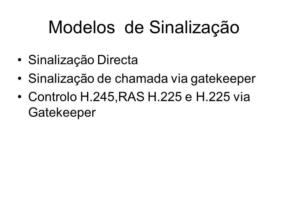 Modelos de Sinalização Sinalização Directa Sinalização de chamada via gatekeeper Controlo H.245,RAS H.225 e H.225 via Gatekeeper