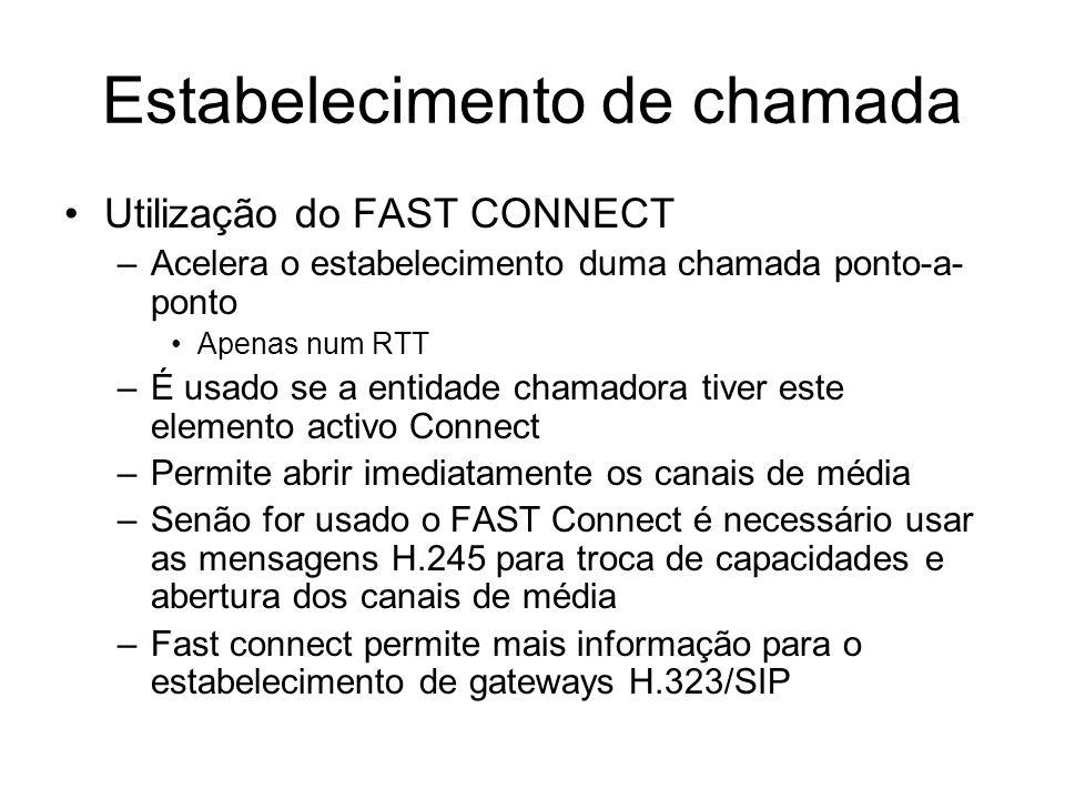 Estabelecimento de chamada Utilização do FAST CONNECT –Acelera o estabelecimento duma chamada ponto-a- ponto Apenas num RTT –É usado se a entidade cha