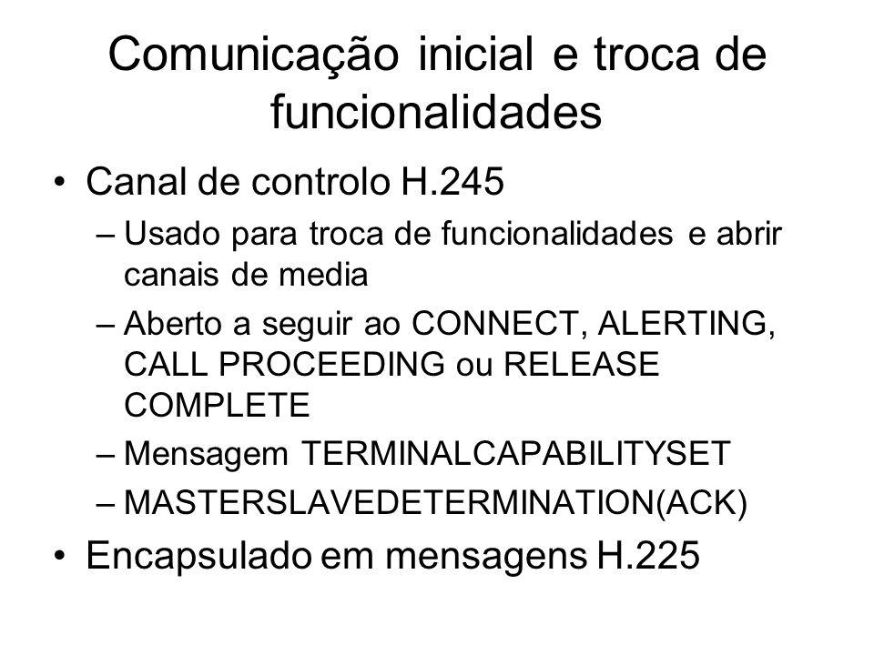 Comunicação inicial e troca de funcionalidades Canal de controlo H.245 –Usado para troca de funcionalidades e abrir canais de media –Aberto a seguir a