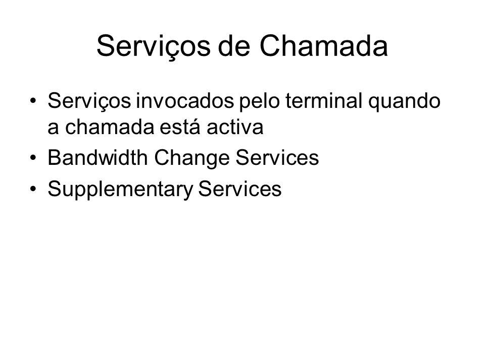 Serviços de Chamada Serviços invocados pelo terminal quando a chamada está activa Bandwidth Change Services Supplementary Services