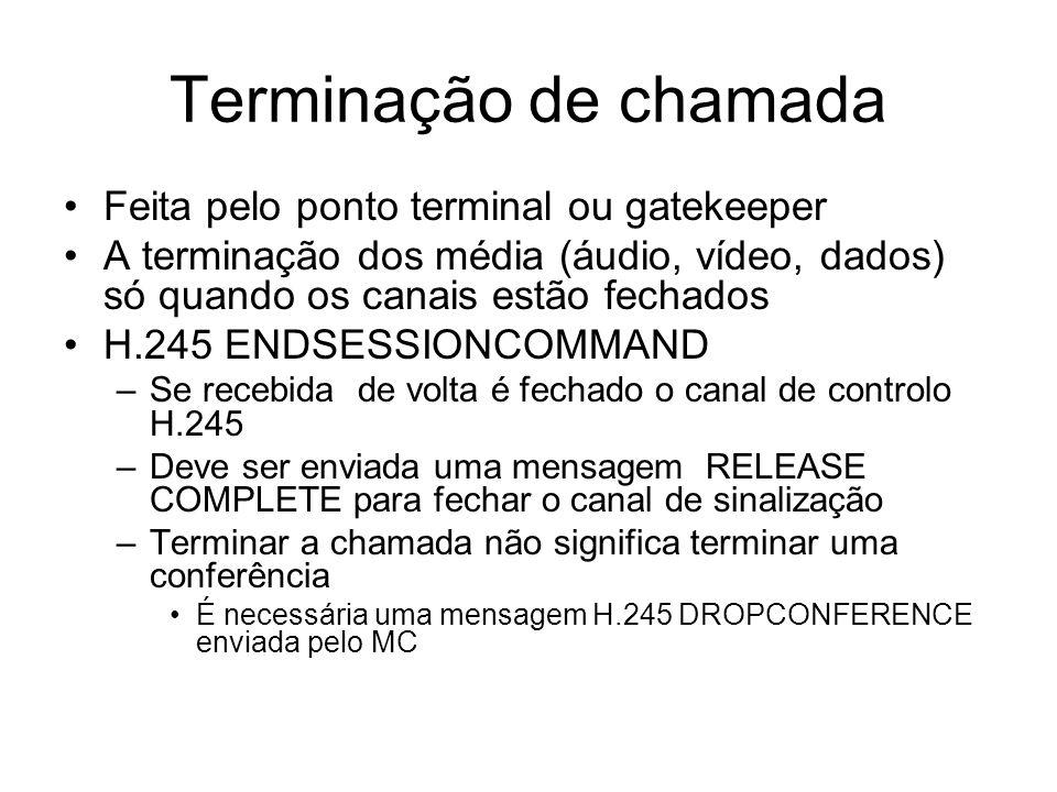 Terminação de chamada Feita pelo ponto terminal ou gatekeeper A terminação dos média (áudio, vídeo, dados) só quando os canais estão fechados H.245 EN