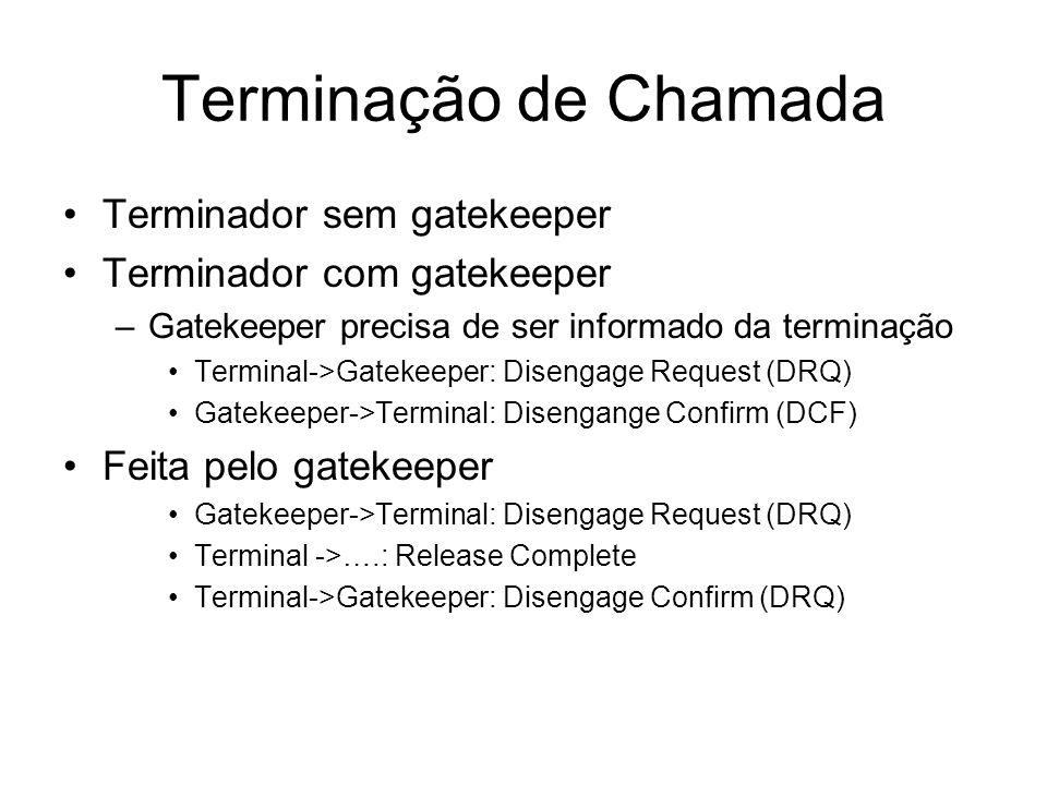 Terminação de Chamada Terminador sem gatekeeper Terminador com gatekeeper –Gatekeeper precisa de ser informado da terminação Terminal->Gatekeeper: Dis