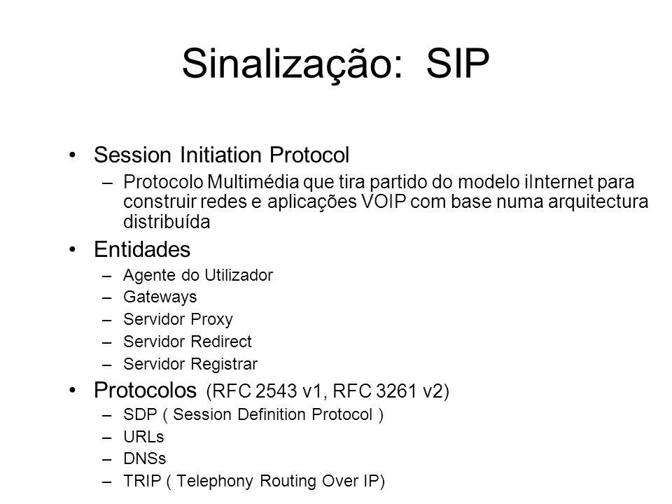 Sinalização: SIP Session Initiation Protocol –Protocolo Multimédia que tira partido do modelo iInternet para construir redes e aplicações VOIP com bas