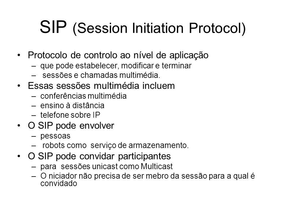 SIP (Session Initiation Protocol) Protocolo de controlo ao nível de aplicação –que pode estabelecer, modificar e terminar – sessões e chamadas multimé