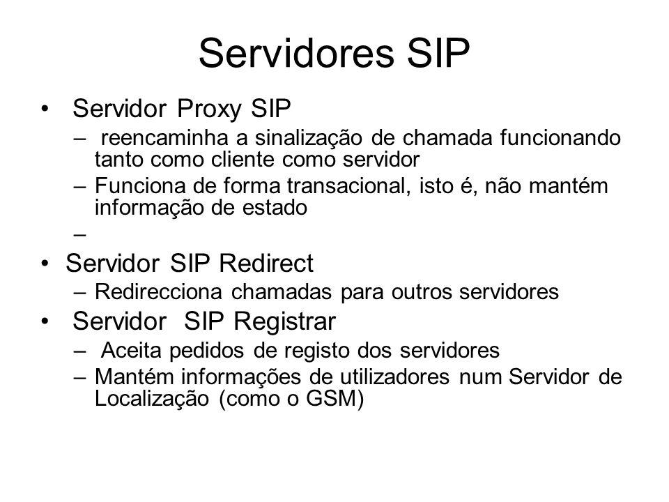 Servidores SIP Servidor Proxy SIP – reencaminha a sinalização de chamada funcionando tanto como cliente como servidor –Funciona de forma transacional,