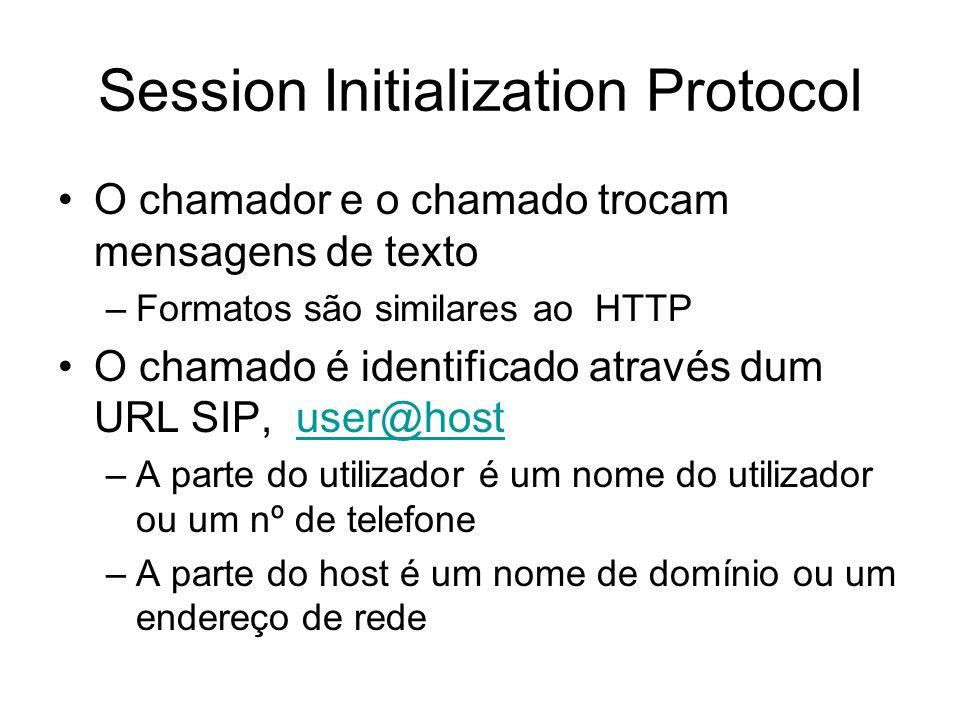 Session Initialization Protocol O chamador e o chamado trocam mensagens de texto –Formatos são similares ao HTTP O chamado é identificado através dum