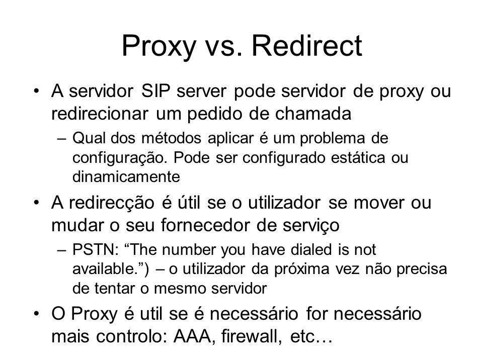 Proxy vs. Redirect A servidor SIP server pode servidor de proxy ou redirecionar um pedido de chamada –Qual dos métodos aplicar é um problema de config