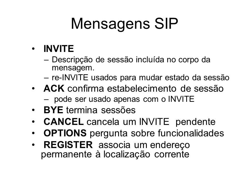 Mensagens SIP INVITE –Descripção de sessão incluída no corpo da mensagem. –re-INVITE usados para mudar estado da sessão ACK confirma estabelecimento d