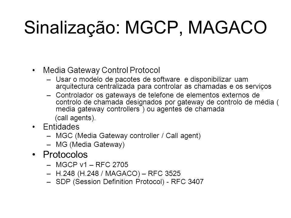 Sinalização: MGCP, MAGACO Media Gateway Control Protocol –Usar o modelo de pacotes de software e disponibilizar uam arquitectura centralizada para con