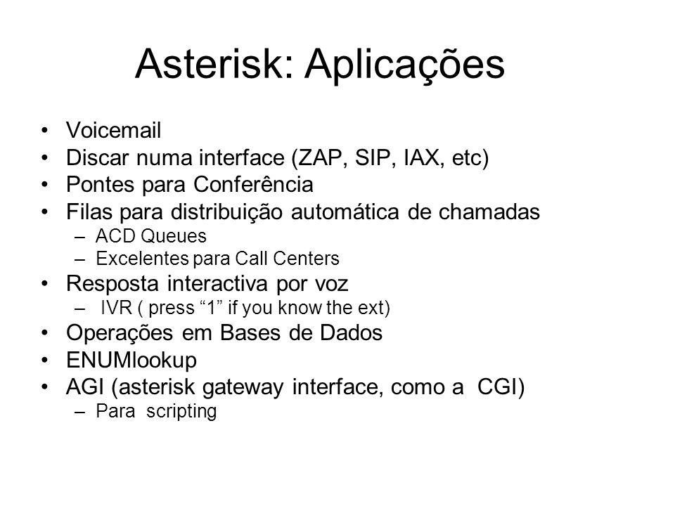 Asterisk: Aplicações Voicemail Discar numa interface (ZAP, SIP, IAX, etc) Pontes para Conferência Filas para distribuição automática de chamadas –ACD