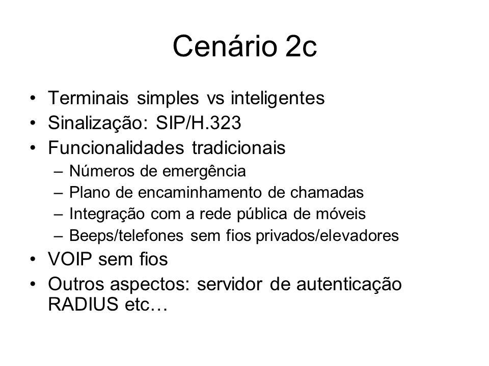Cenário 2c Terminais simples vs inteligentes Sinalização: SIP/H.323 Funcionalidades tradicionais –Números de emergência –Plano de encaminhamento de ch