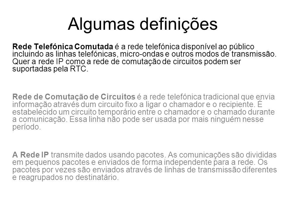 Algumas definições Rede Telefónica Comutada é a rede telefónica disponível ao público incluindo as linhas telefónicas, micro-ondas e outros modos de t