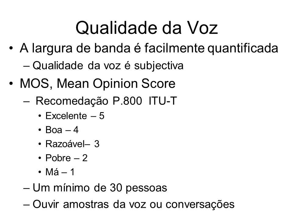 Qualidade da Voz A largura de banda é facilmente quantificada –Qualidade da voz é subjectiva MOS, Mean Opinion Score – Recomedação P.800 ITU-T Excelen