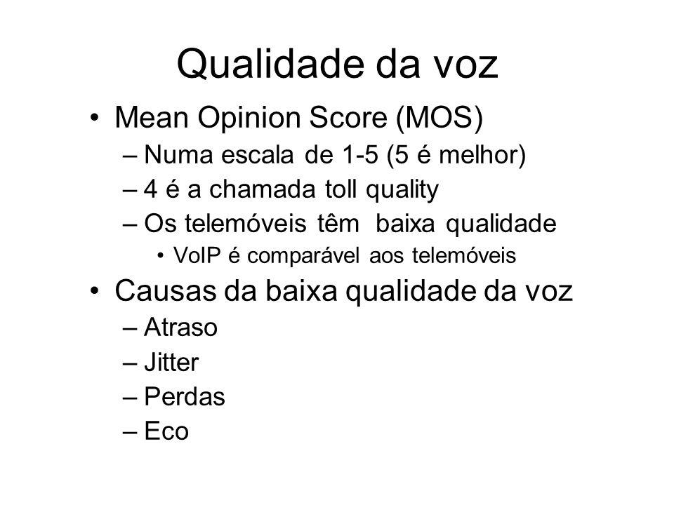 Qualidade da voz Mean Opinion Score (MOS) –Numa escala de 1-5 (5 é melhor) –4 é a chamada toll quality –Os telemóveis têm baixa qualidade VoIP é compa