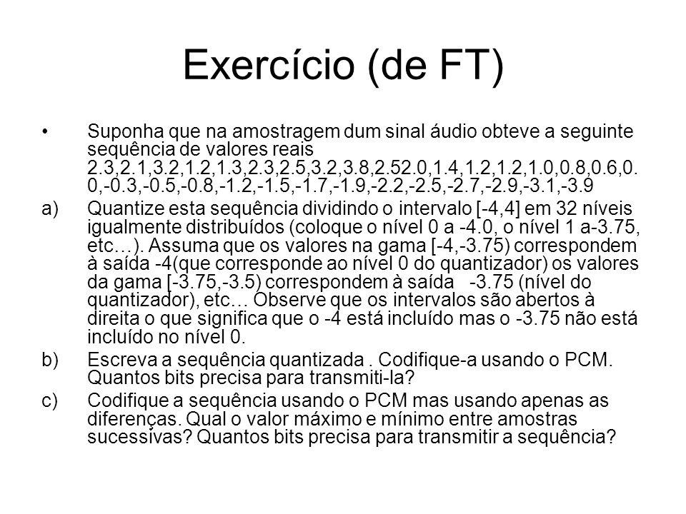 Exercício (de FT) Suponha que na amostragem dum sinal áudio obteve a seguinte sequência de valores reais 2.3,2.1,3.2,1.2,1.3,2.3,2.5,3.2,3.8,2.52.0,1.
