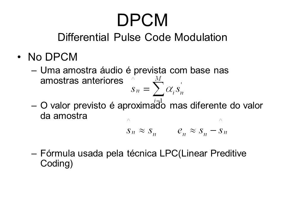 DPCM Differential Pulse Code Modulation No DPCM –Uma amostra áudio é prevista com base nas amostras anteriores –O valor previsto é aproximado mas dife