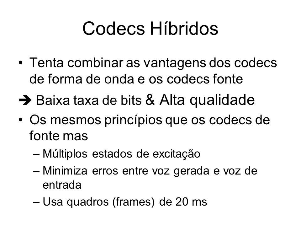 Codecs Híbridos Tenta combinar as vantagens dos codecs de forma de onda e os codecs fonte Baixa taxa de bits & Alta qualidade Os mesmos princípios que