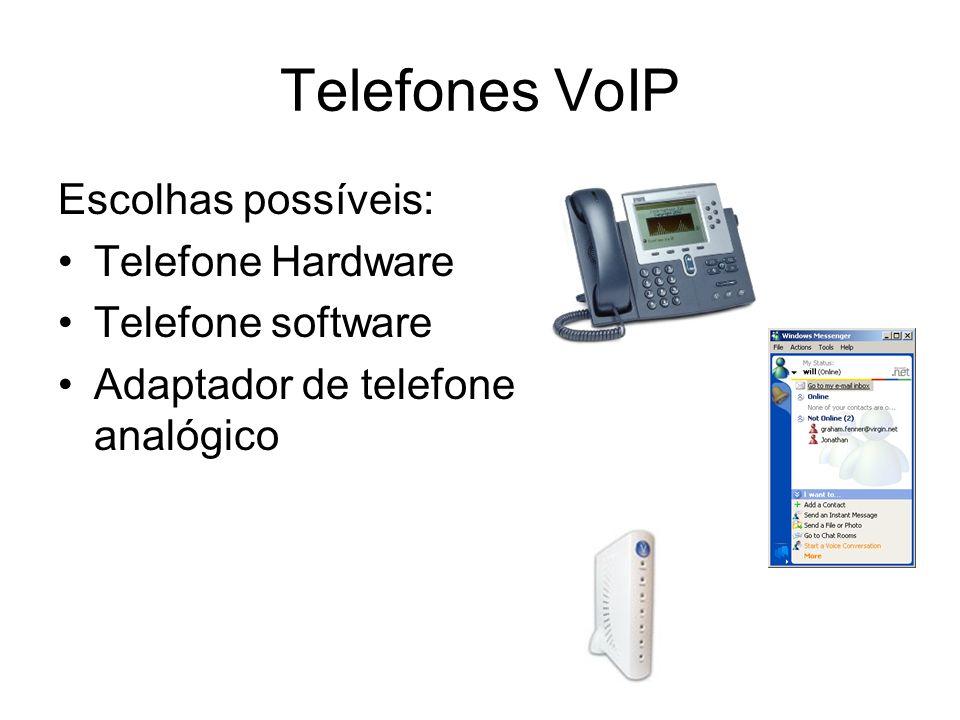 Telefones VoIP Escolhas possíveis: Telefone Hardware Telefone software Adaptador de telefone analógico