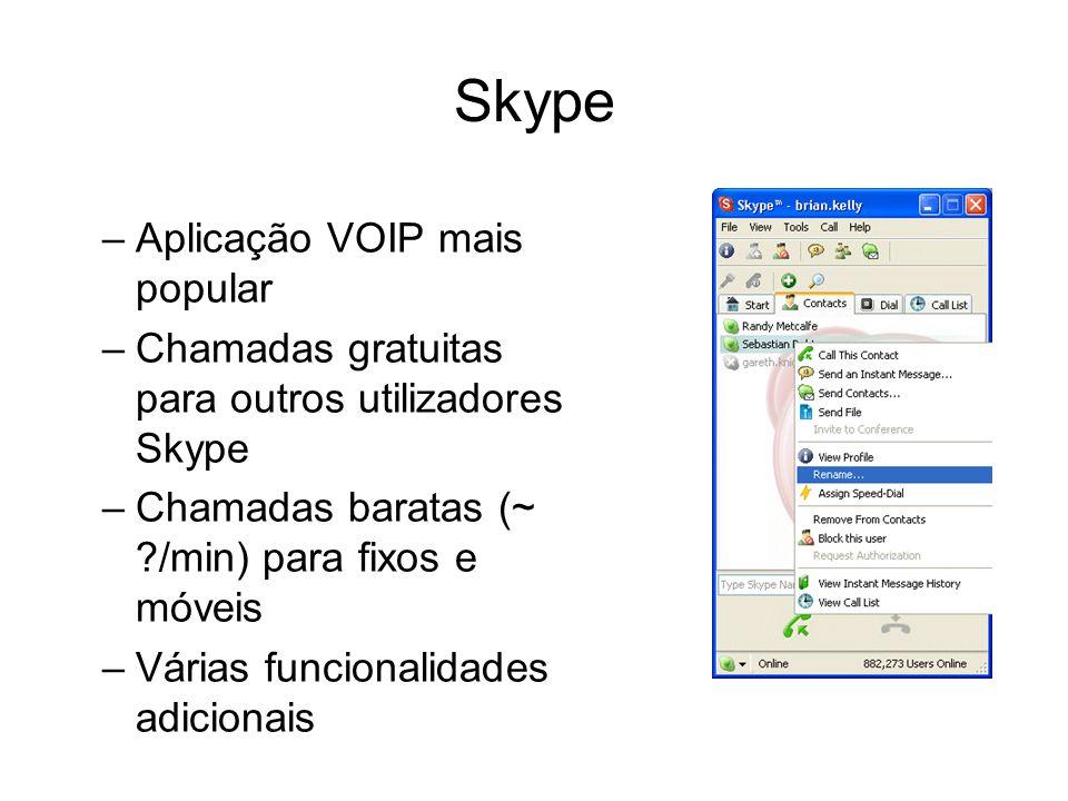 Skype –Aplicação VOIP mais popular –Chamadas gratuitas para outros utilizadores Skype –Chamadas baratas (~ ?/min) para fixos e móveis –Várias funciona