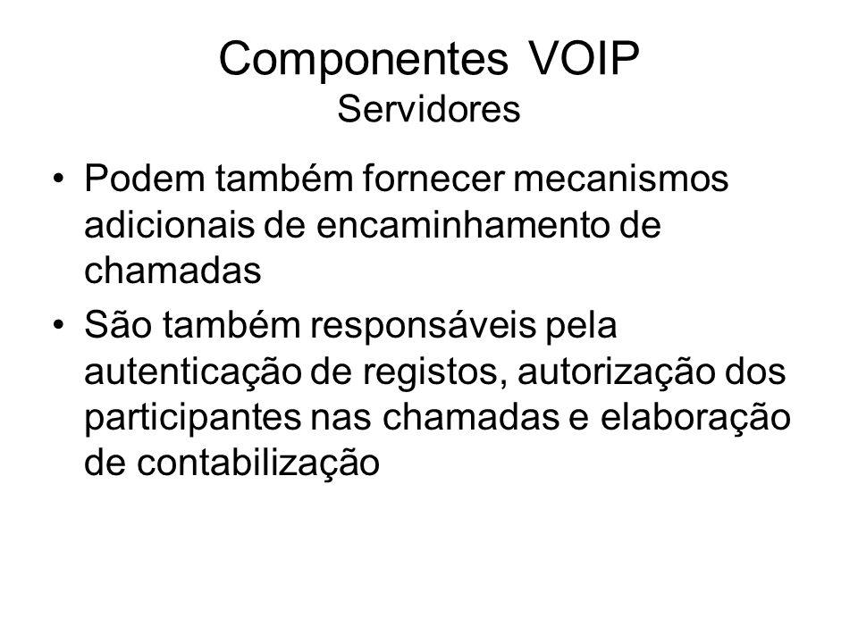 Componentes VOIP Servidores Podem também fornecer mecanismos adicionais de encaminhamento de chamadas São também responsáveis pela autenticação de reg