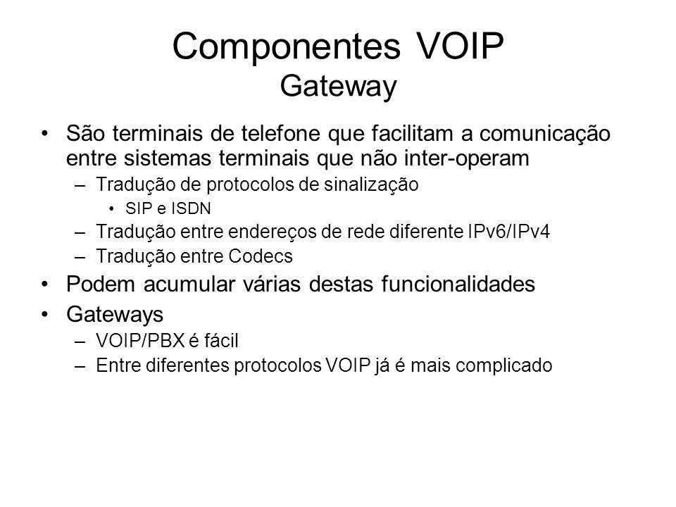 Componentes VOIP Gateway São terminais de telefone que facilitam a comunicação entre sistemas terminais que não inter-operam –Tradução de protocolos d