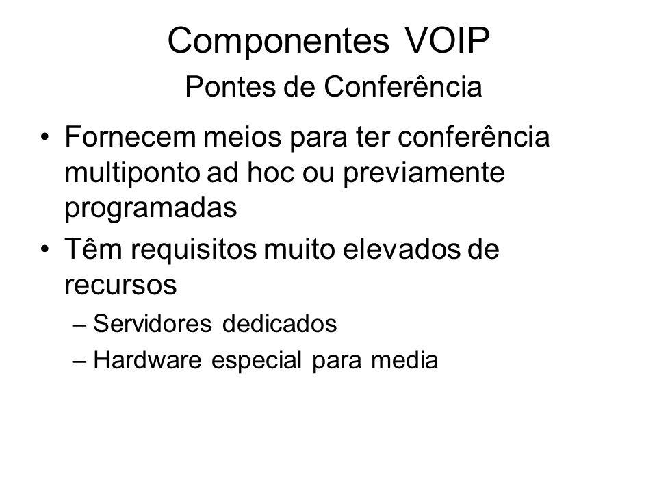 Componentes VOIP Pontes de Conferência Fornecem meios para ter conferência multiponto ad hoc ou previamente programadas Têm requisitos muito elevados
