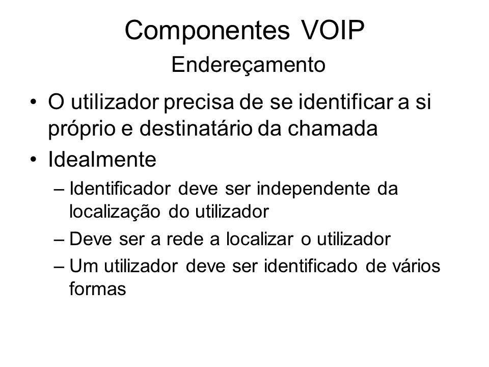Componentes VOIP Endereçamento O utilizador precisa de se identificar a si próprio e destinatário da chamada Idealmente –Identificador deve ser indepe