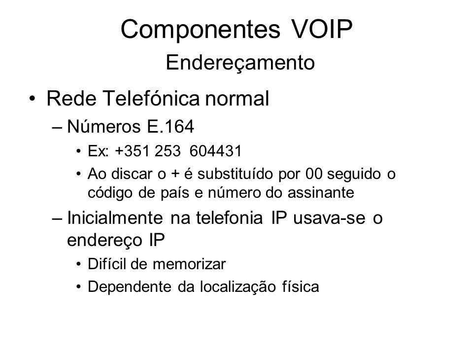 Componentes VOIP Endereçamento Rede Telefónica normal –Números E.164 Ex: +351 253 604431 Ao discar o + é substituído por 00 seguido o código de país e