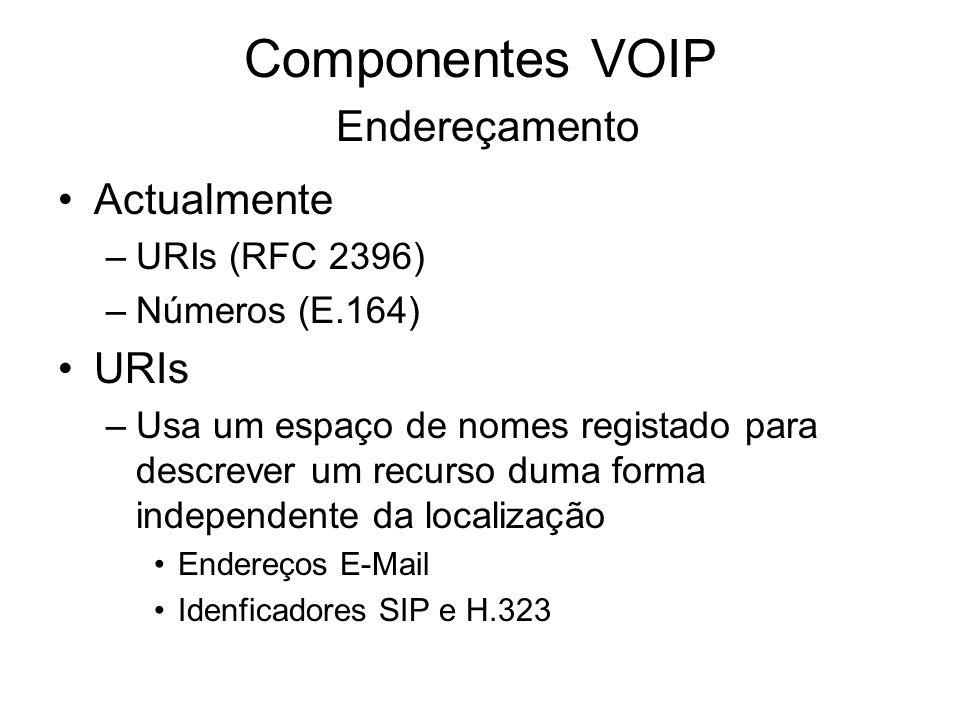 Componentes VOIP Endereçamento Actualmente –URIs (RFC 2396) –Números (E.164) URIs –Usa um espaço de nomes registado para descrever um recurso duma for
